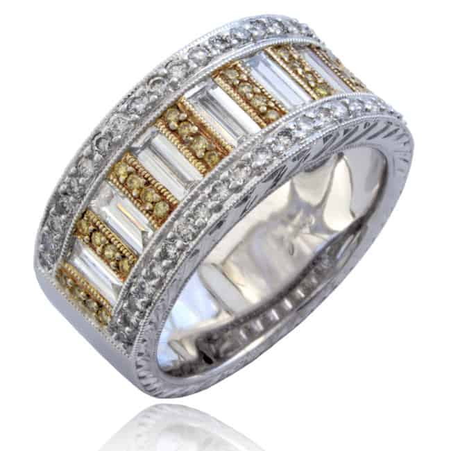 Fancy Yellow & Baguette Diamonds Ring Image