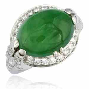 Cabochon Jade & Diamond Ring Image