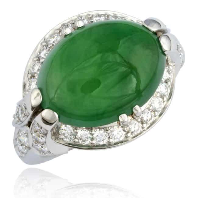 Cabochon Jade & Diamond Ring Image