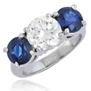 Diamond & Sapphire Ring set in Platinum Image