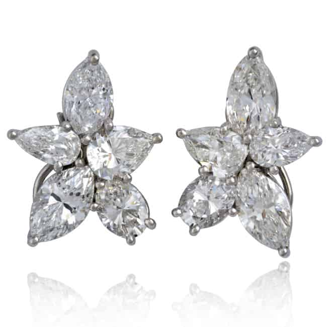 Platinum Diamond Cluster Earrings Image