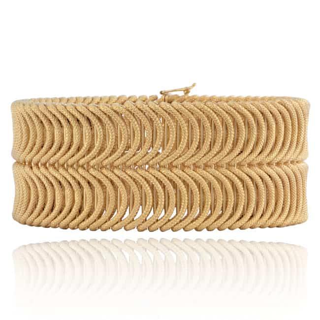 Vintage 18k Wide Woven Italian Bracelet Image