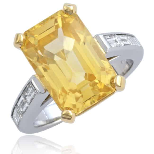 Fancy Yellow Sapphire & Diamond Ring Image