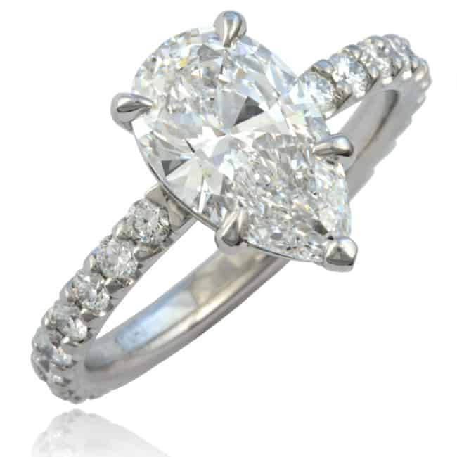 Pear-shape Diamond Ring set in Platinum Image
