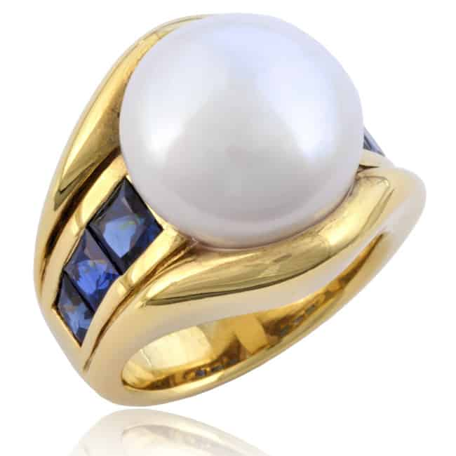 Freshwater Pearl & Sapphire Ring Image