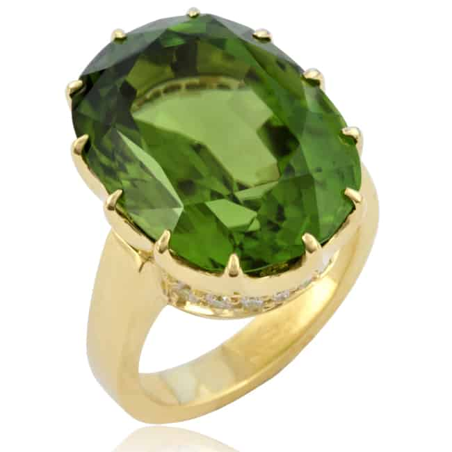 Green Peridot & Diamond Ring Image