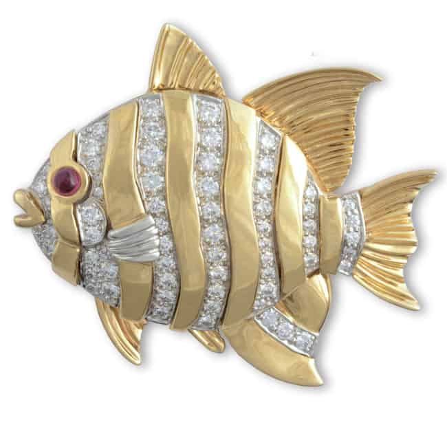Vintage Diamond Fish Brooch Image