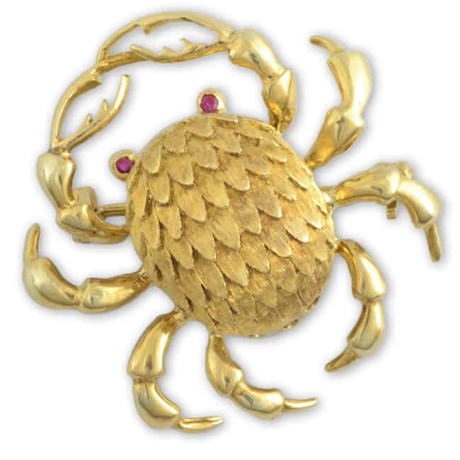 Vintage 18k Crab Brooch Image