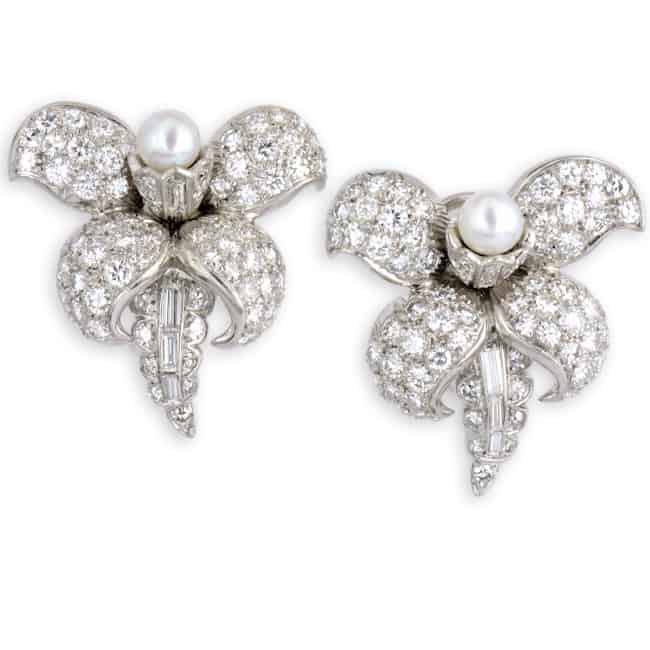 Diamond & Pearl Flower Earrings Image