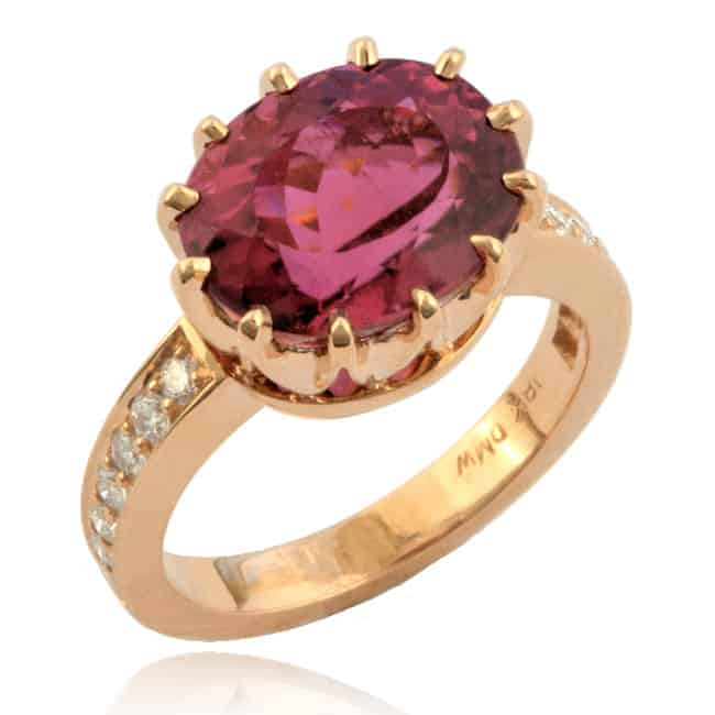 Rubellite & Diamond Ring Image