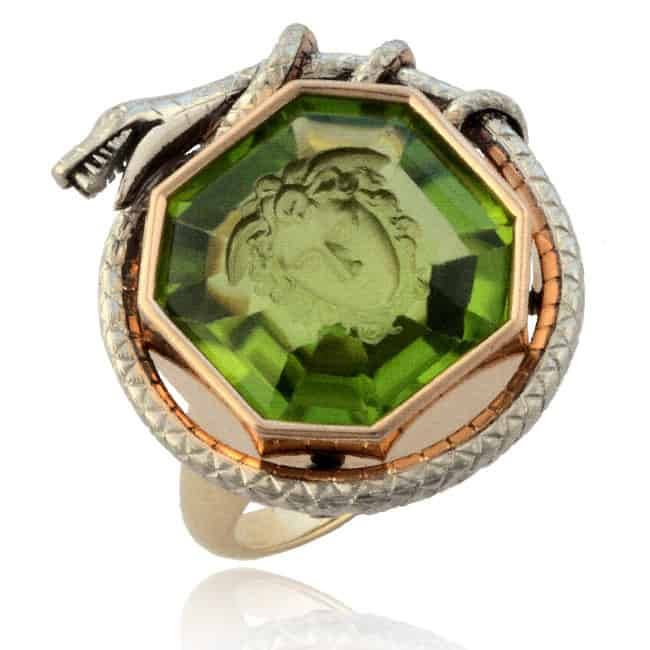 Carved Medusa Green Peridot Ring Image