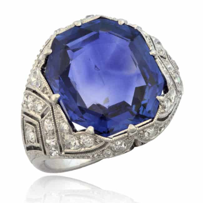 Natural Sapphire & Diamond Ring Image