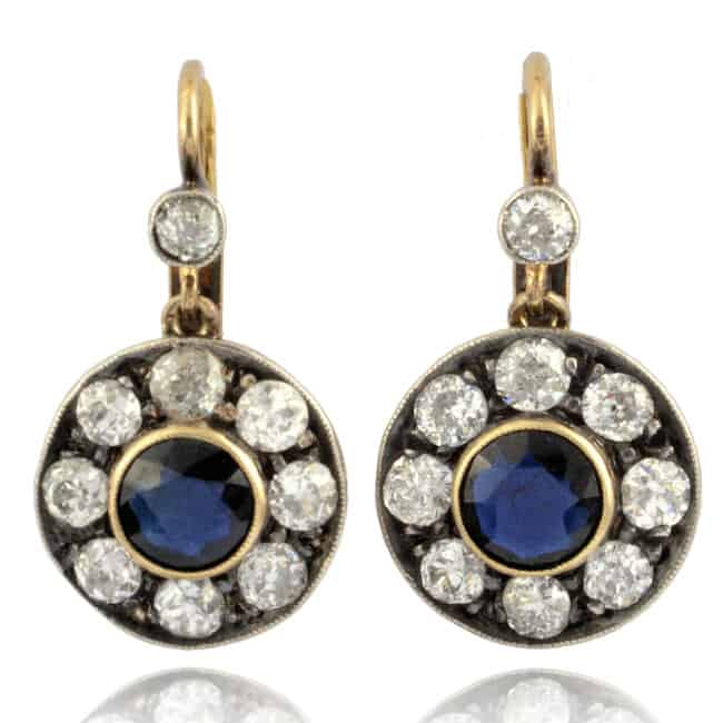 Late Victorian Blue Sapphire & Diamond Earrings Image