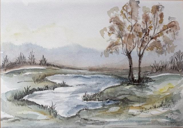 1998 - Flusslandschaft, Aquarell