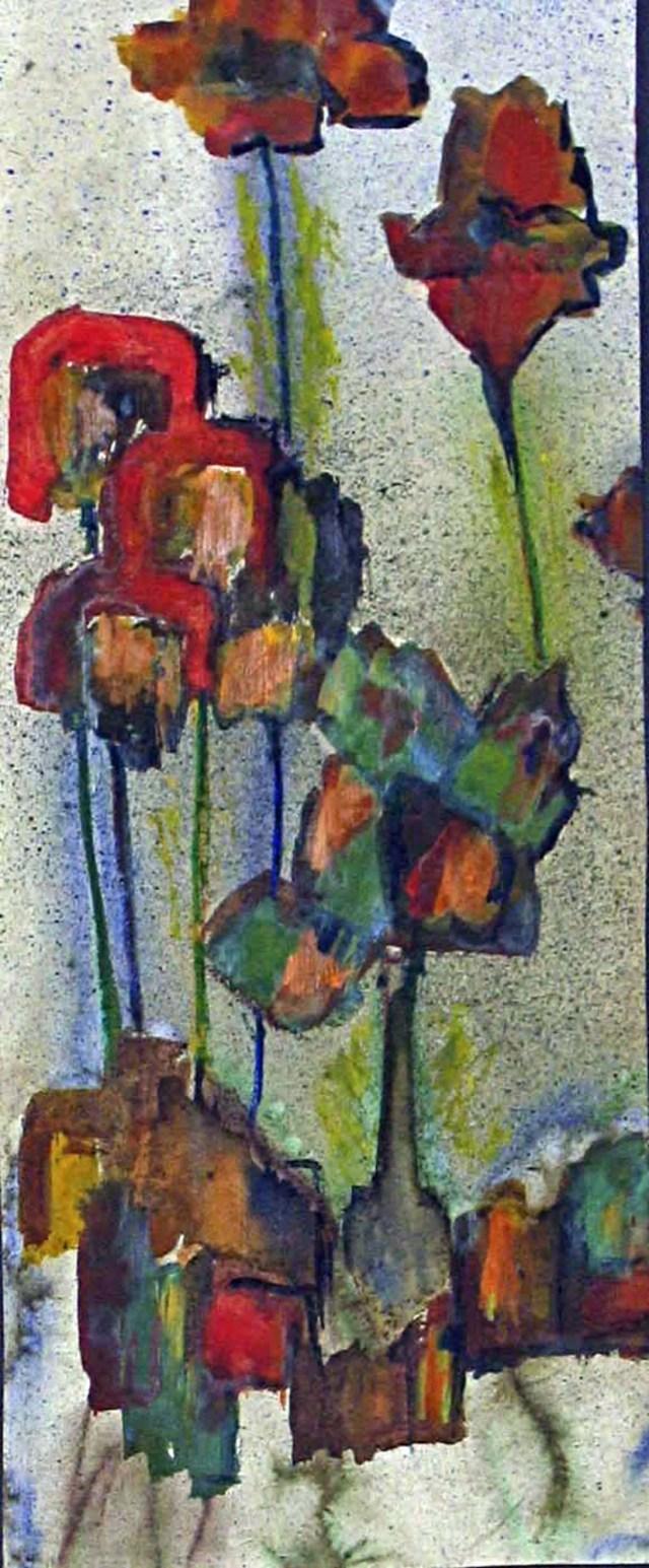 2002 - Blumen abstrakt, 19x42cm, Acryl, Spritztechnik