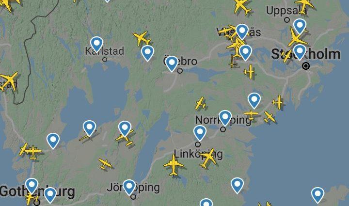 Flygtrafik över Sverige 3 juni 2020