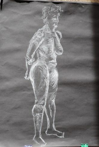 Standing female, White chalk on black A1 sugar paper