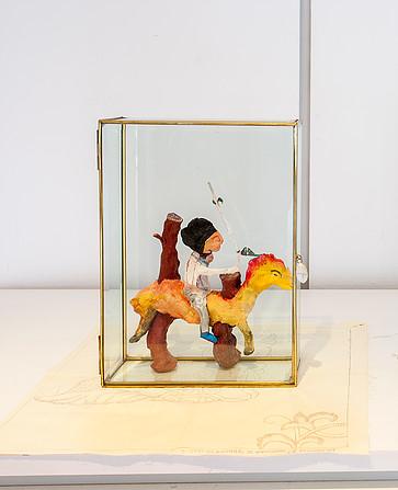 Clay sculpture in a glass box. 27,5x15cm 2015