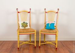Wood chairs and patchwork cushions. 110x40x40 cms. 2017