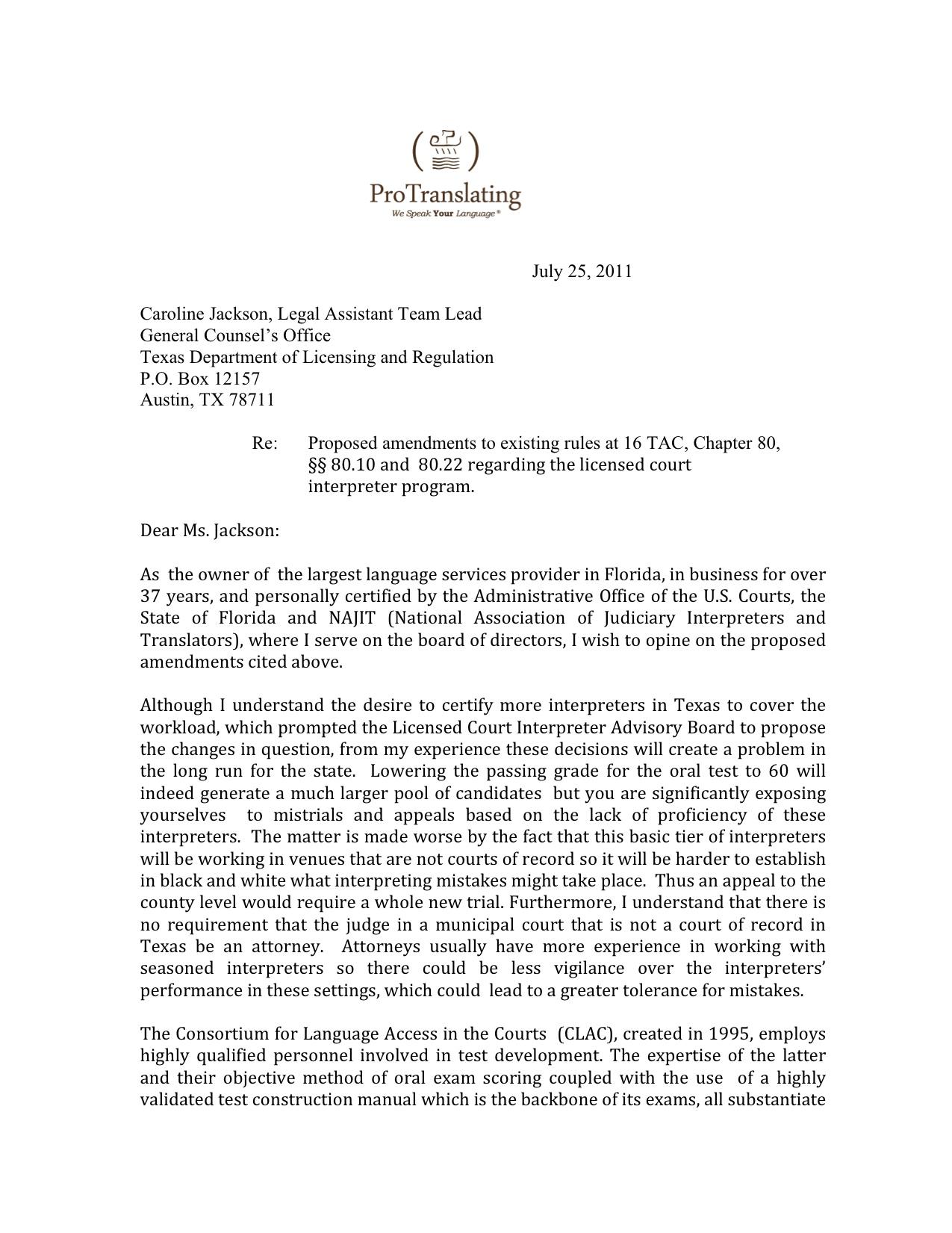 Court Interpreter Cover Letter
