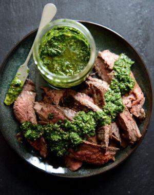 Maria's Pinterest Top Pick Recipe Garlic Brown Sugar Flank Steak with Cilantro Chimichurri