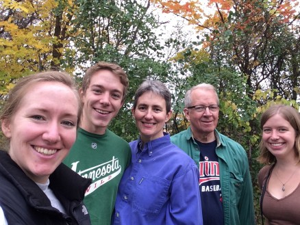 Apple picking & laughing at family selfies
