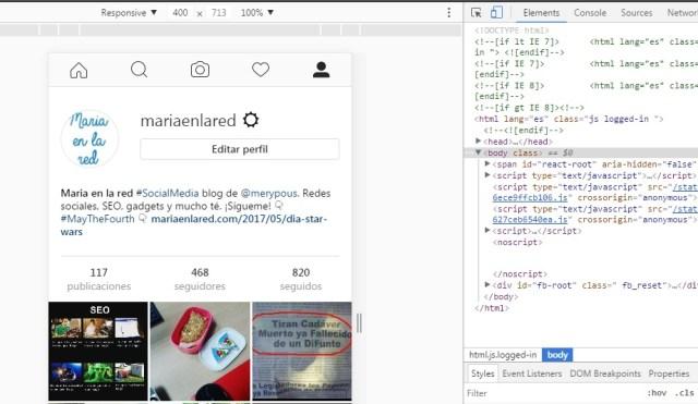 publicar en instagram desde ordenador chrome vision. movil