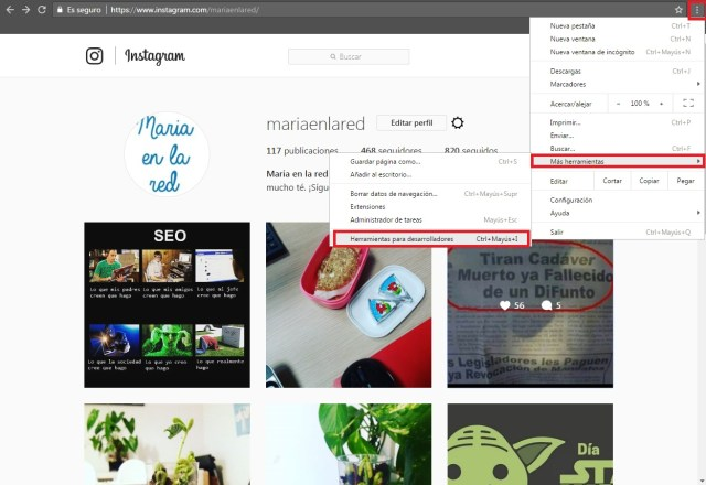 publicar en instagram desde ordenador chrome