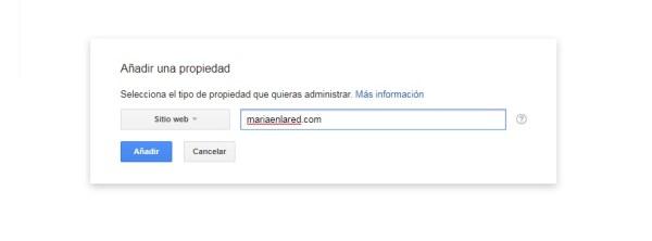 Como configurar Google Search Console - Añadir propiedad - Maria en la red