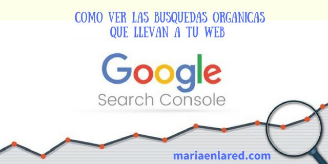Como ver las busquedas organicas en Google Search Console | Maria en la red