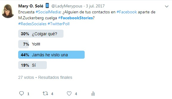 Facebook Stories encuesta en twitter