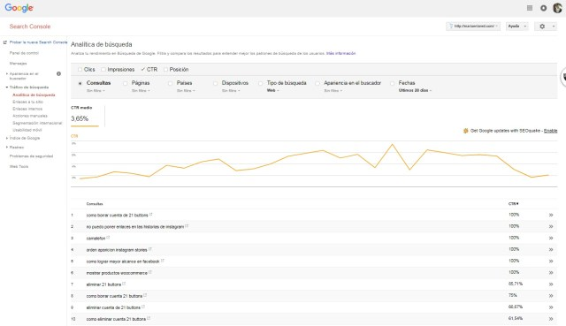 Google Search Console Analítica de búsquedas por CTR | Maria en la red