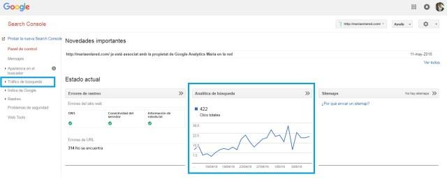 Google Search Console búsquedas en Google | Maria en la red