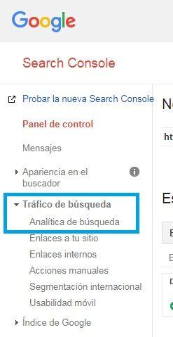 Google Search console Analitica de busqueda | Maria en la red