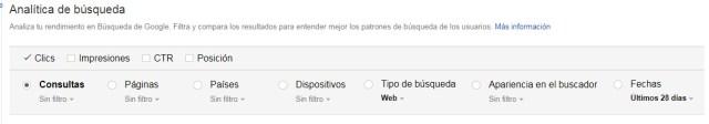 Opciones de la analitica de busqueda en Google Search Console | Maria en la red