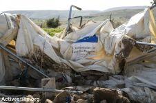 Carpa donada por la Unión Europea, destruida en Fasayil, Valle del Jordán. 11/2/16.