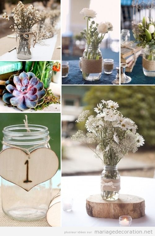 idees deco mariage pas cher centre table pot verre et fleurs