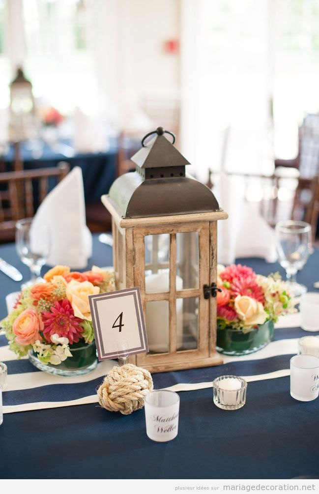 Lanterne vintage id e d co table de mariage d coration mariage id es pour d corer un Centre table mariage plage idees