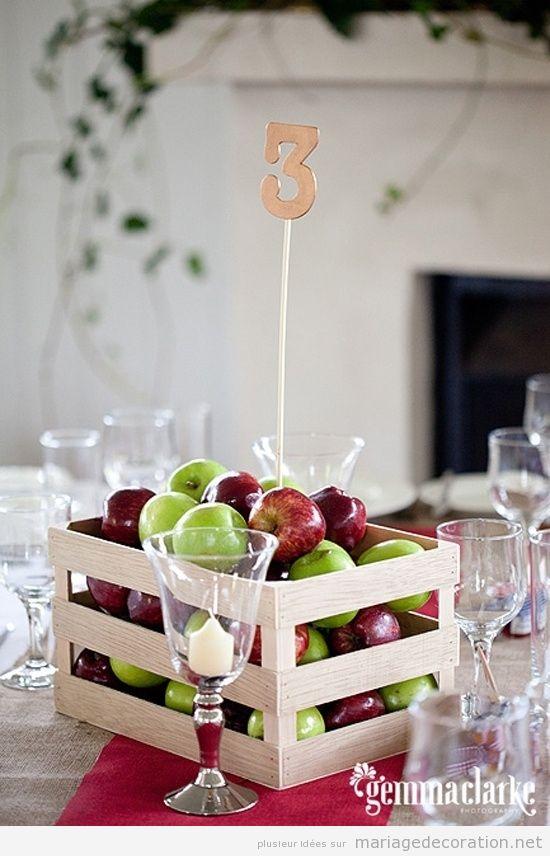 Bo tes de pommes id e original pour d corer un centre table de mariage d coration mariage Centre table mariage plage idees