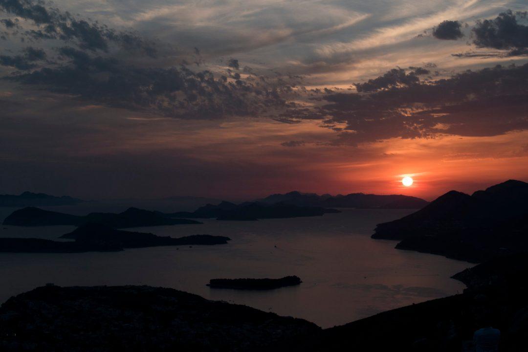 Croatie, couché de soleil, soir, soleil, mer, côte Croate