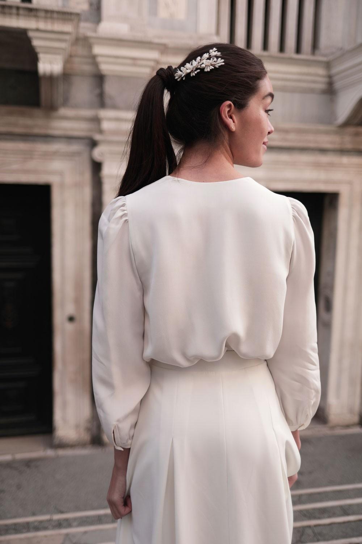 Blouse Emma, collection mariage, Maison Lemoine Paris, haut mariage, collection blanche