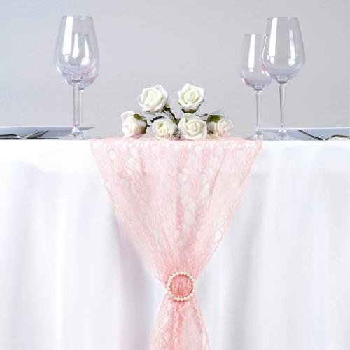 chemin de table en dentelle rose poudre les couleurs du mariage mariage et reception