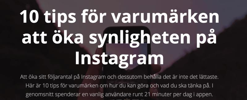 jag tipsar om hur du som företag kan öka din synlighet på instagram