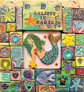 mermaid polymer clay mosaic