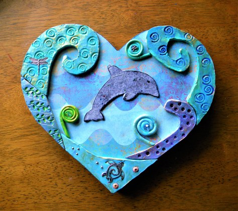 Seascape dolphin wall plaque