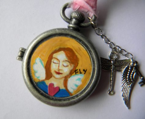 Mini painting in a watch casing
