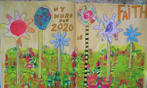 Art journal pages tutorial with floral napkin and writing.