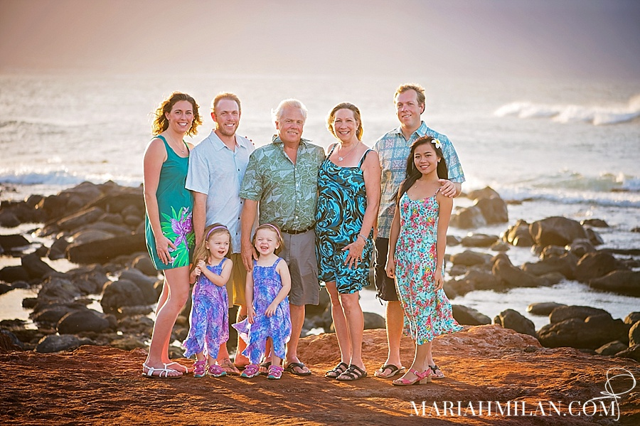 North Shore Maui Sunset Family Portrait