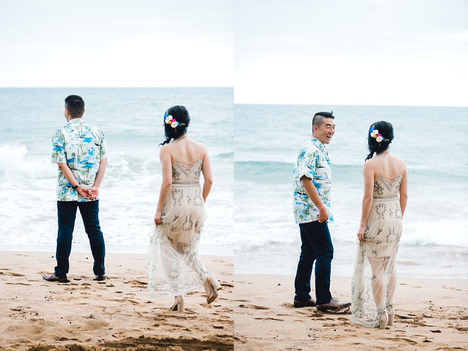 First Look on Poolenalena Beach Maui Wedding Mariah Milan