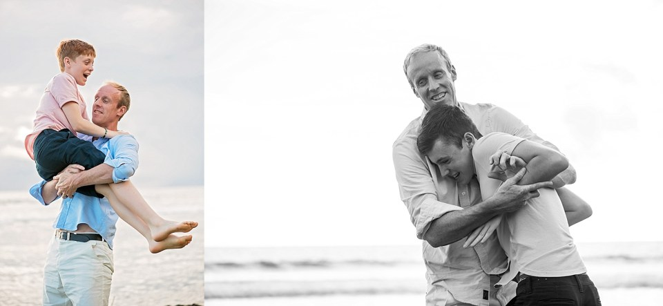 Dad plays with sons at Maui photo session